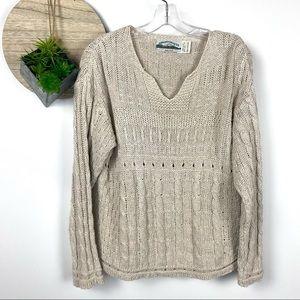 Aran Crafts Cotton Linen V Neck Sweater Large